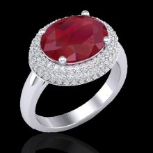 Natural 4.50 CTW Ruby & Micro Pave Diamond Certified Ring 18K Gold - 20922-REF#99A7N