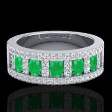 Natural 2.34 CTW Emerald & Micro Pave Diamond Designer B& Ring 10K Gold - 20824-REF#49F2M