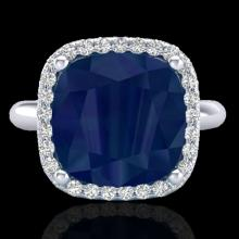 Natural 6.0 CTW Sapphire And Micro Pave Halo Diamond Ring Solitaire 18K Gold - 23104-REF#53W2K