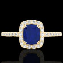 Genuine 1.25 CTW Sapphire & Micro Pave Diamond Certified Halo Ring 10K Gold - 22911-REF#25A8N