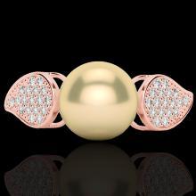 Natural 0.27 CTW Micro Pave Diamond Certified & Golden Pearl Designer Ring 14K Gold - 22640-REF#28W3K