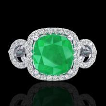 Genuine 3.15 CTW Emerald & Micro Pave Diamond Certified Ring 18K Gold - 23001-REF#69M2H