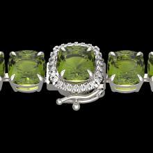 Natural 40 CTW Green Tourmaline & Micro Pave Diamond Halo Bracelet 14K White Gold - 23312-REF#302W8K