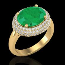 Natural 4.50 CTW Emerald & Micro Pave Diamond Certified Ring 18K Gold - 20914-REF#83G2W