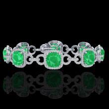Genuine 25 CTW Emerald & Micro Pave Diamond Certified Bracelet 14K Gold - 23021-REF#263T9X