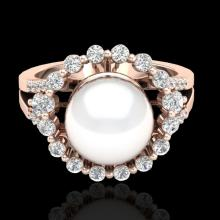 Genuine 0.83 CTW Micro Pave Diamond Certified & White Pearl Halo Ring 14K Gold - 20705-REF#57H5R