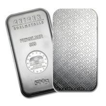 One piece 500 gram 0.999 Fine Silver Bar Geiger Security Line Series