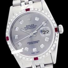 Rolex Men's Stainless Steel, QuickSet, Diam Dial & Diam/Ruby Bezel - REF#425A5M