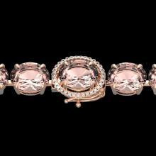 Natural 44 CTW Morganite & Micro Pave Diamond Halo Bracelet 14K Rose Gold - 22268-REF#635X3A