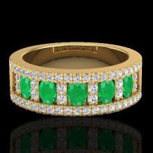 Genuine 2.34 CTW Emerald & Micro Pave Diamond Designer B& Ring 10K Gold - 20825-REF#49G2W
