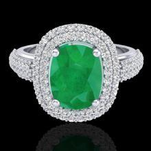 Genuine 3.50 CTW Emerald & Micro Pave Diamond Certified Halo Ring 18K Gold - 20717-REF#105V5F