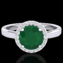 Natural 2.0 CTW Emerald & Halo Diamond Micro Pave Ring Solitaire Bridal 18K Gold - 21628-REF#49F3M