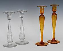 Two Pair of Etched Glass Candlesticks