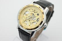 Men's WINNER Hand Wind 2 Tone Stainless Steel Skeleton Watch