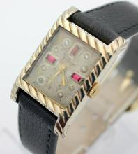 Vintage VALJEAN Hand Wind Diamond Ruby Dial Dress Watch