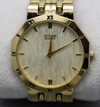 Mens Citizen Quartz Gold Tone Watch