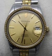 Vintage Santoz Automatic Date Mens 2 Tone Watch