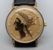 Swank Liberty Coin Watch Running