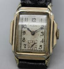 1940s Elgin Mens Wind UP Fancy Lug Watch Gold Filed