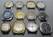 Lot of 12 Mens Wind Up Watches Non Running Elgin