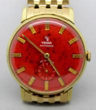 Yema Wind Up Mens Vintage Watch Orange Dial