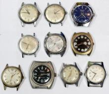 Lot of 10 Automatic Mens Watches Gruen Elgin Timex Helbros