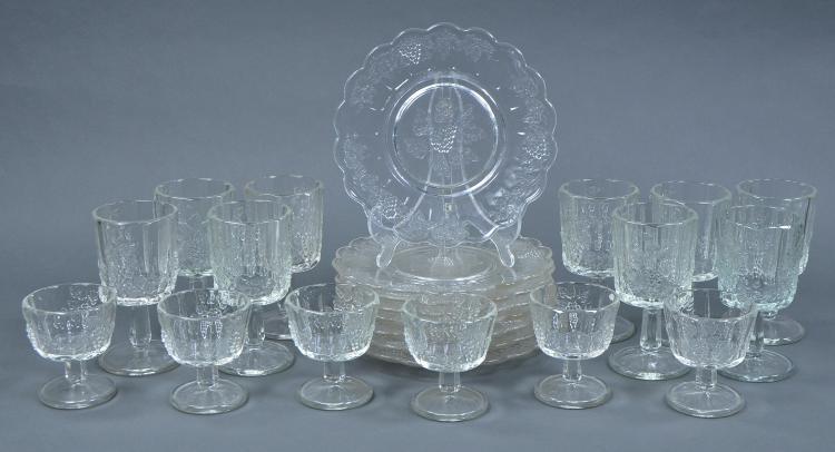 Twenty-three Pcs of Heavy Panelled Grape Glassware