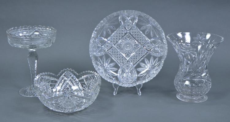 Bx Four Pcs Mid-Century Cut Glass