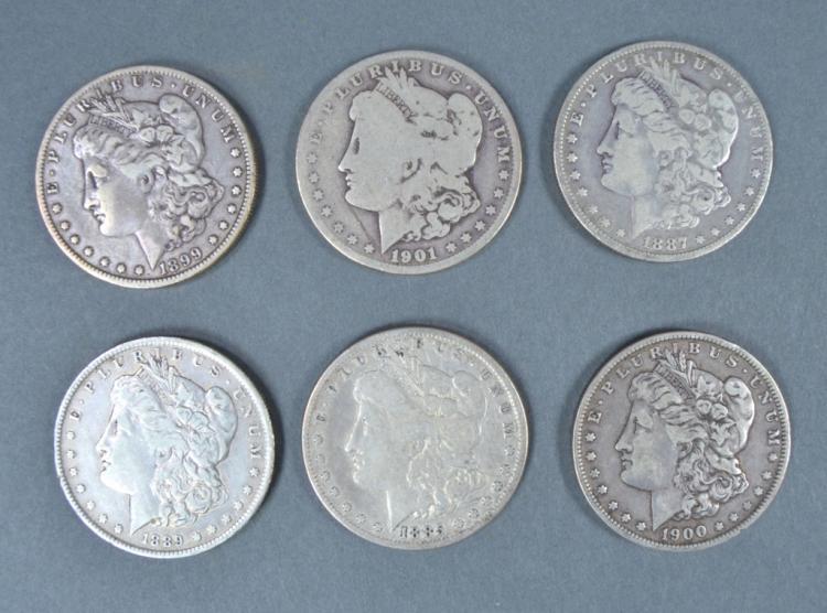Six Circulated Morgan Dollars