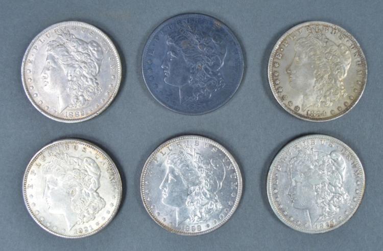 Six Morgan Dollars