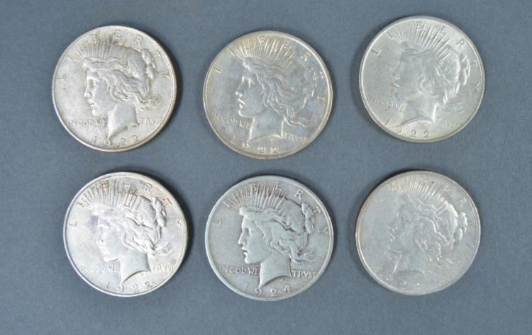 Six Peace Dollars