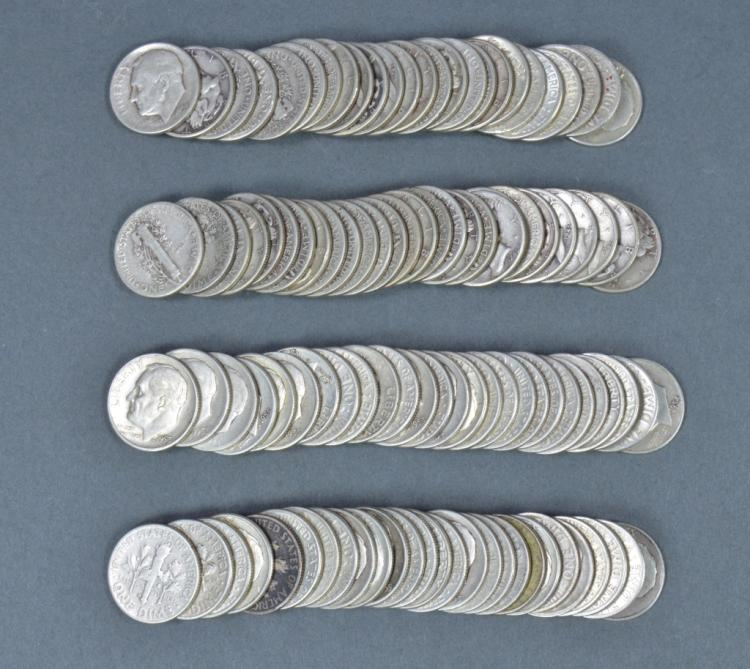 Over Two Rolls of Silver Dimes