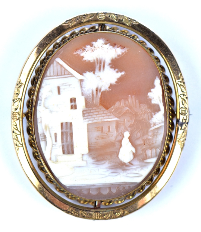 Carved Shell Reversible Cameo Brooch