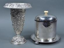 English Silverplate Biscuit Jar