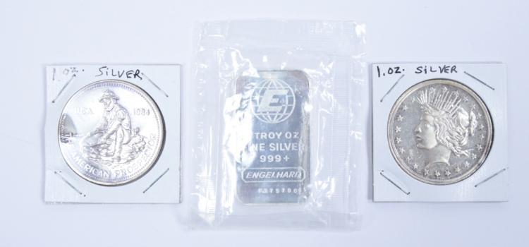 Three 1 oz. Silver Round/Ingots