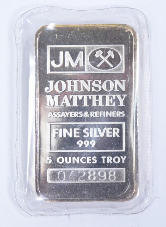 One 5 Troy oz. Johnson-Matthey Silver Ingot