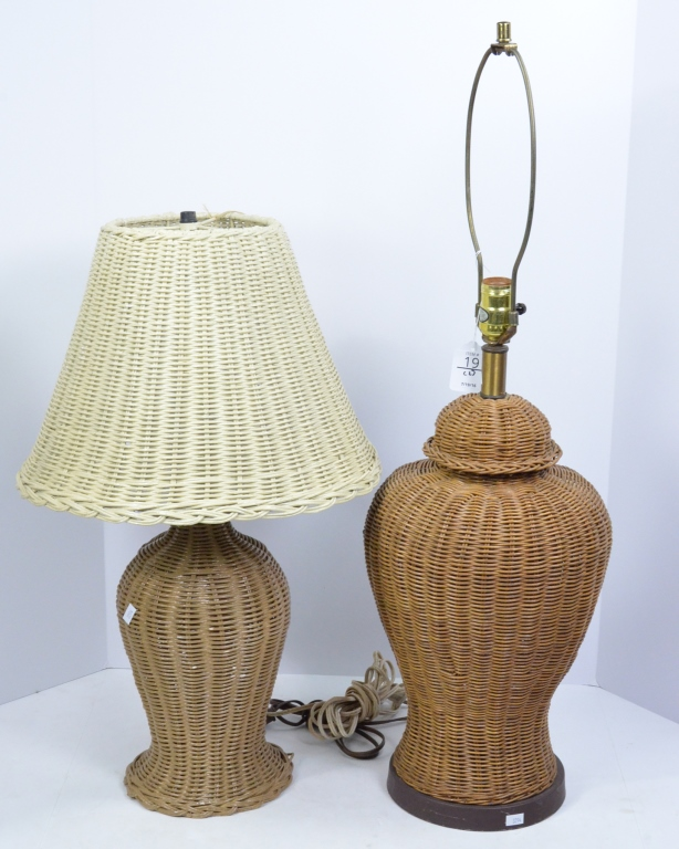 Two Rattan Table Lamps