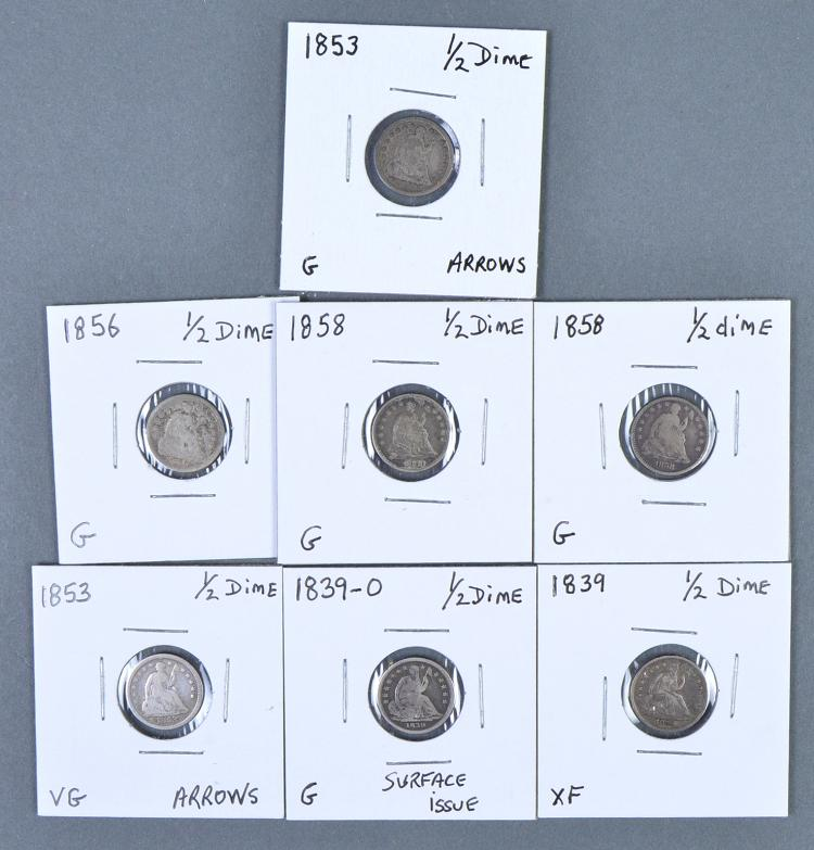 Group of Seven Half Dimes (Seated)