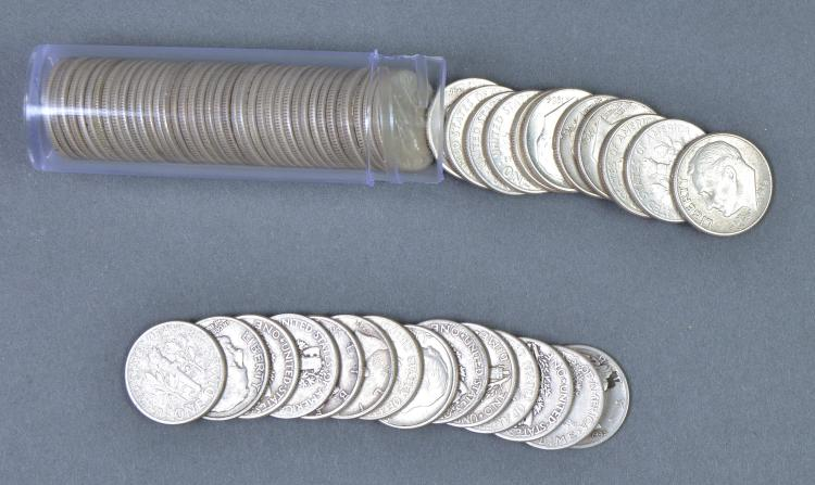 Roll of Roosevelt 90% Silver Dimes