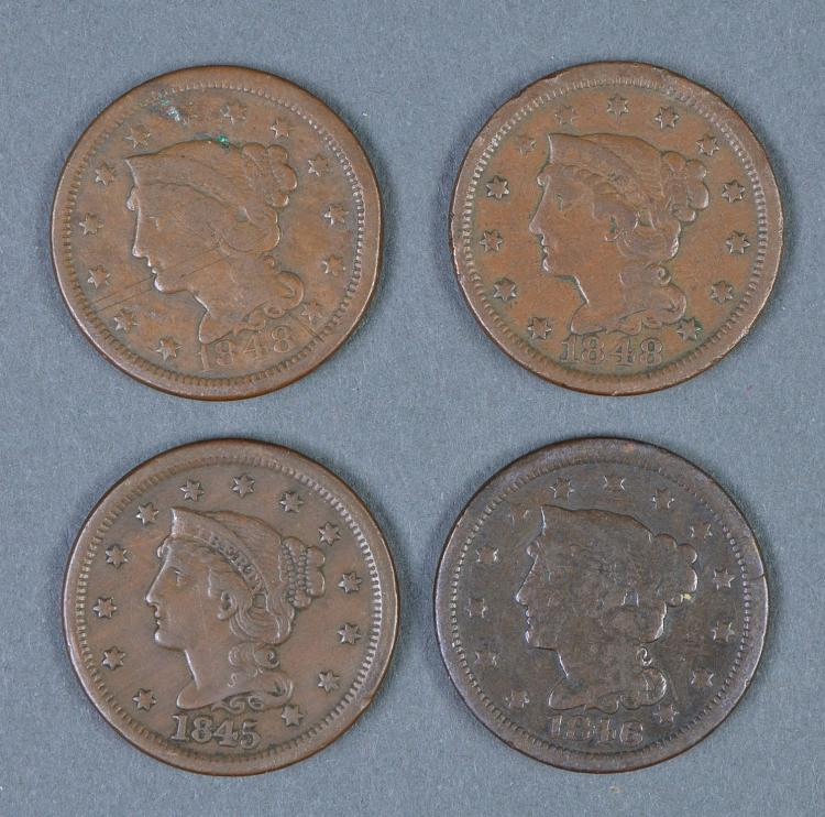 Four Braided Hair Large Cents