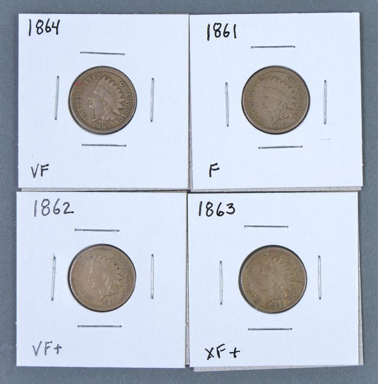 Four Civil War-Era Indian Cents