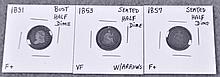 Three Obsolete Silver Half-Dimes