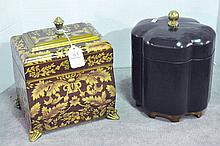 Two Lidded Decorative Wooden Boxes