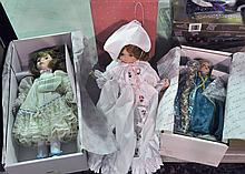 Three Porcelain Collectible Dolls