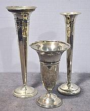 Three Weighted Sterling Vases