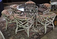 Whitewashed Ratan Table & Chairs