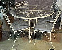 White Painted Iron Patio Table and Four Chairs