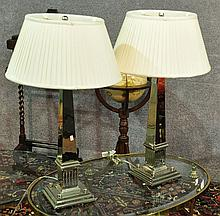 Pair Nickle-Finished Table Lamps