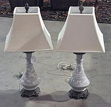 Pair Celadon Color Table Lamps