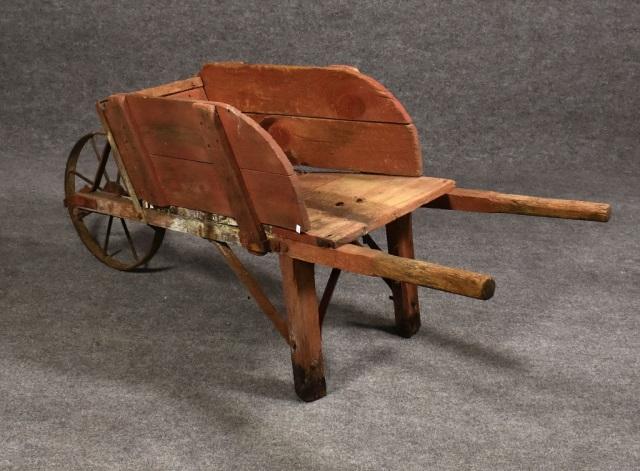 Primitive Wooden Wheel Barrel